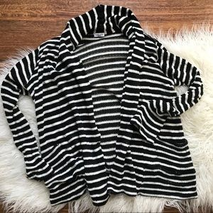 Splendid Black & White Stripe Open Cardigan Size M